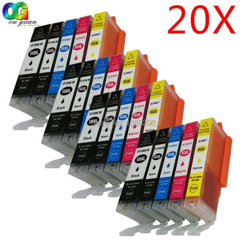 20 шт., оптовая продажа, совместимые чернильные картриджи Canon 550 551 для iP7250 MG5450 MG6350 MG6450 MG7150 MX925