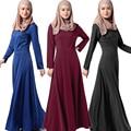 Estilo étnico Vestido de los Musulmanes Abaya ropa Islámica Turca Abayas Pavo ropa Sólido de Punto de Algodón Vestido de Jersey negro