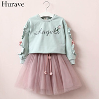 Hurave Fashion Kids Clothes Set 2017 Spring And Autumn Roses Puzzle Pearl Letters Sweater Gauze Skirt