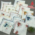 20pcs/lot Ultrathin printing Floral women party handkerchief 30*30cm cotton Fabric Hanky Wendding girl Pocket Square