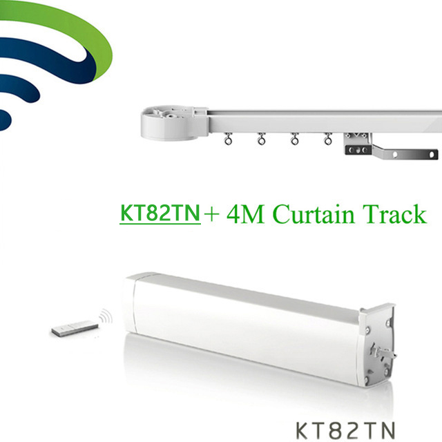Ewelink Dooya Electrical Curtain Motor KT82TN Remote 100-240V 50/60MHZ+4M Customizable Aluminum Window Curtain Rail Rod Track