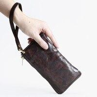 Luxury Designer Real Cow Genuine Leather Men Wallet Long Purse for Husband Gift Zipper Phone ID Card Holder Wristlet Handy Bag