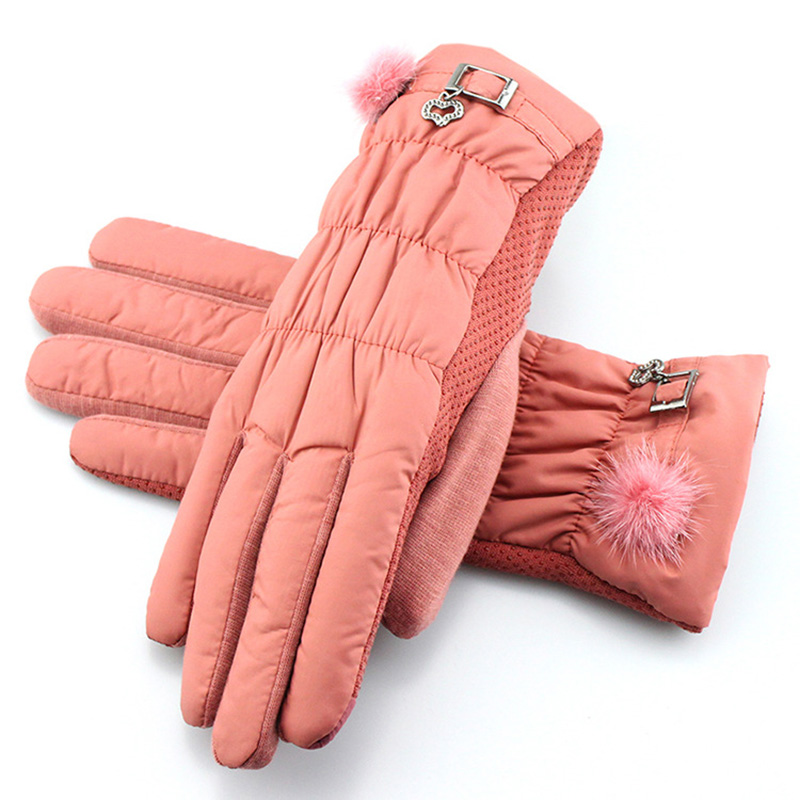 Female Winter Outdoor Sports Warm Windproof Touch Screen Cycling Gloves Women Bow Thick Plush Cashmere Mittens Driving Glove A54