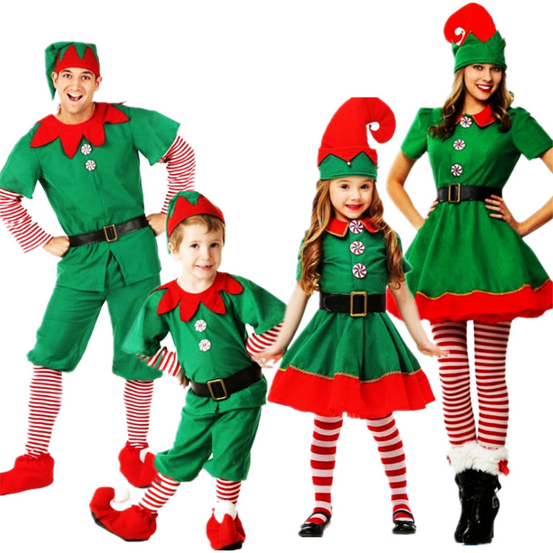 new family Christmas costume parent-child Christmas elf cosplay clothing Christmas tree New year party clothing for child adult
