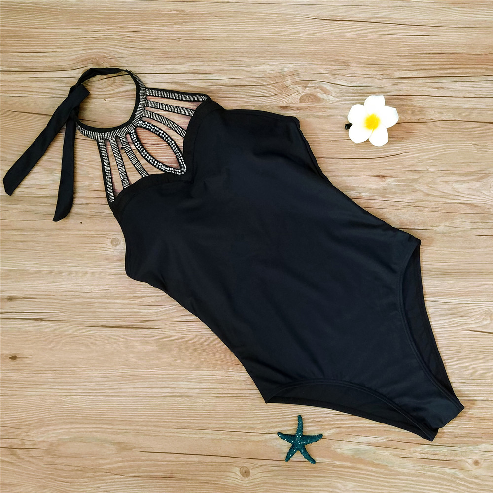 Monokini Women One Piece Swimwear Black 5