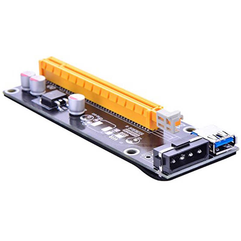 80 قطع السفينة بواسطة dhl 60 سنتيمتر 1x إلى 16x pci-e pci اكسبريس بطاقة الناهض usb 3.0 sata إلى ide 4pin موليكس الطاقة للتعدين bitcion مينر 006