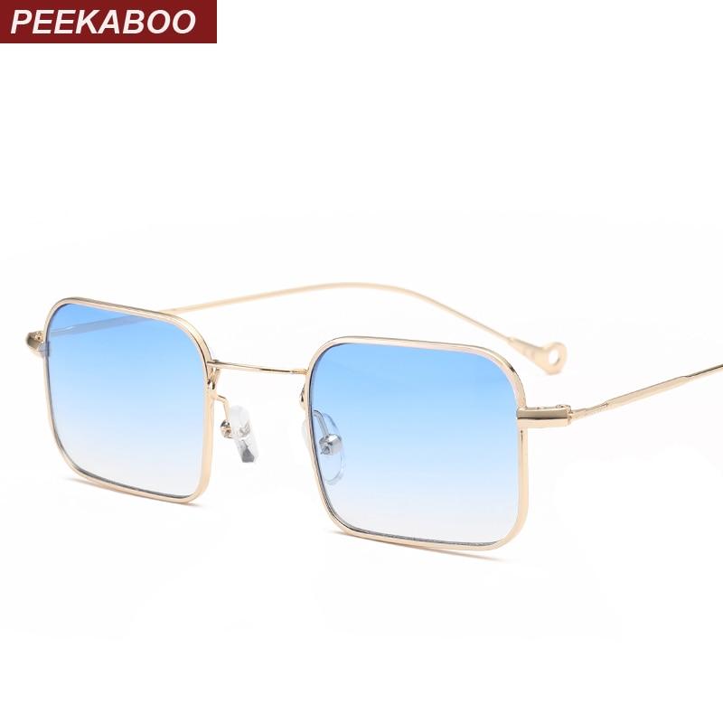 Peekaboo رقيقة مستطيل النظارات الشمسية النساء معدنية صغيرة مربع النظارات الشمسية الرجال واضح uv400 الأصفر الأخضر الأصفر