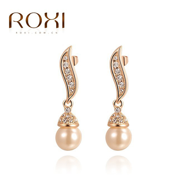 Roxi Brand Rose Gold Color Imitation Pearls Drop Earrings Elegant Crystal Dangle Earring New Women Wedding