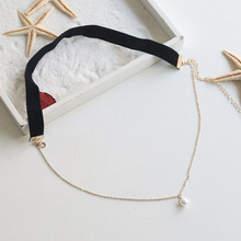 Women's Choker with Fake Pearl Pendant