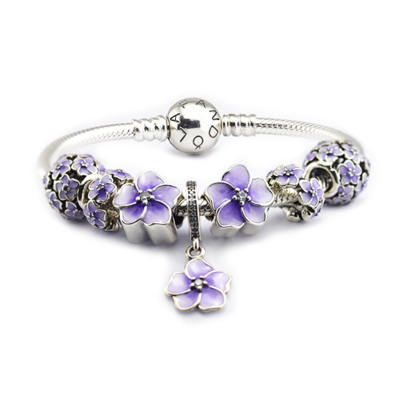 100% 925 Sterling-Silver-Jewelry Around Bracelets with 7pcs Purple Flower Beads in a set  Free Shipping100% 925 Sterling-Silver-Jewelry Around Bracelets with 7pcs Purple Flower Beads in a set  Free Shipping