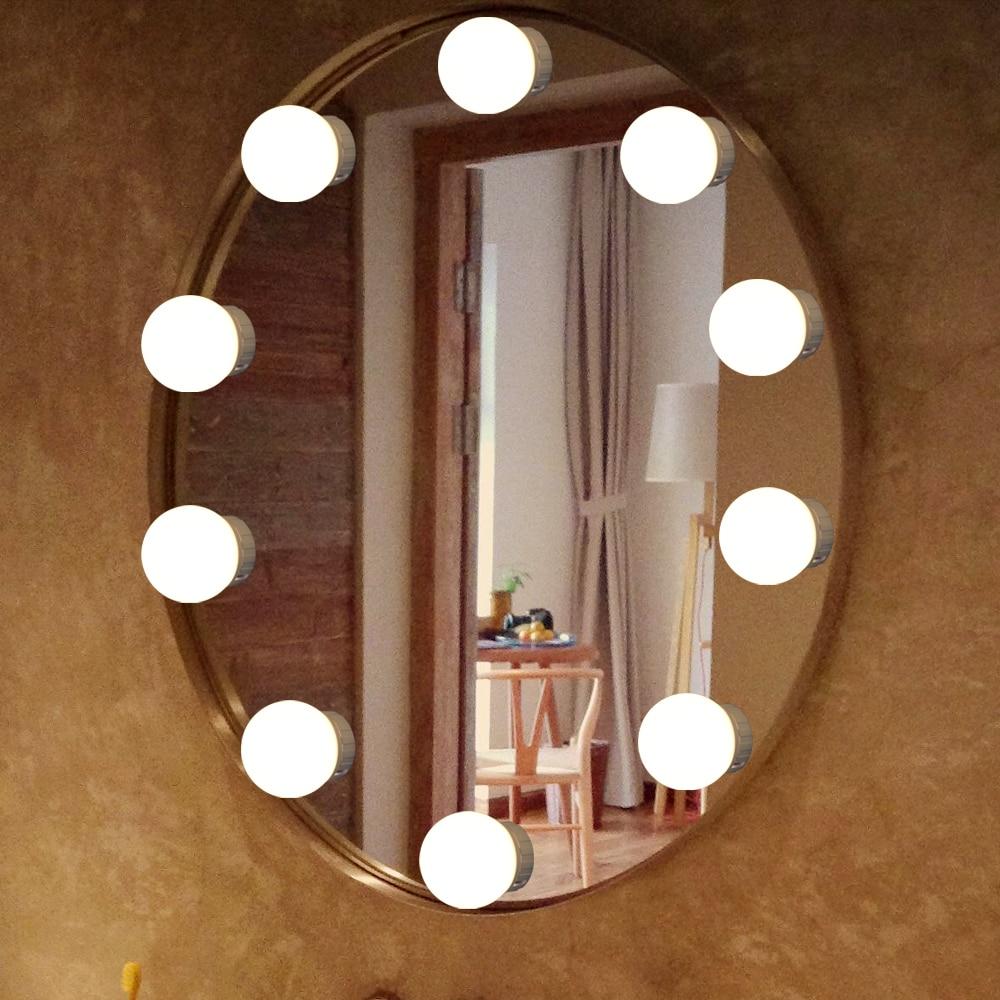 ポータブル USB 充電 LED メイクランプ 10 電球キットドレッシングテーブル調光対応ハリウッドバニティミラー壁は白ライト|LED 室内壁掛け照明|   -