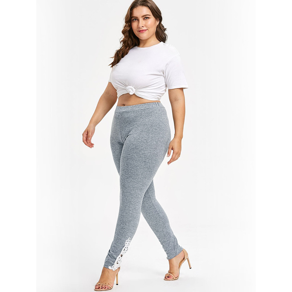 Sexy Women Plus Size L-5XL Size Lace Applique Elastic High Waisted Leggings Yoga Sport Pants Ladies Gray Comfortable Yoga Pants