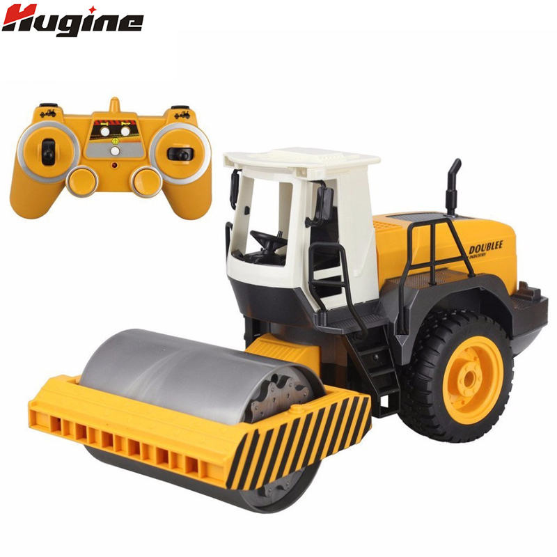 Rc caminhão rolo de estrada 2.4g controle remoto único tambor vibrar 2 roda engenheiro caminhão eletrônico modelo hobby brinquedos