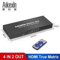 Aikexin Matriz HDMI 4X2 interruptor divisor convertidor adaptador con Control remoto Full HD 4K x 2K 3D 1080P Matriz HDMI 4 en 2 Out