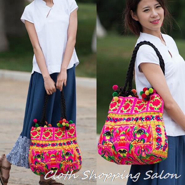 New Ethnic Embroidery Bags Handmae Double Side Embroidered Shoulder Bag Large Handbag Chinese National Big Travel shopping bag high quality authentic famous polo golf double clothing bag men travel golf shoes bag custom handbag large capacity45 26 34 cm