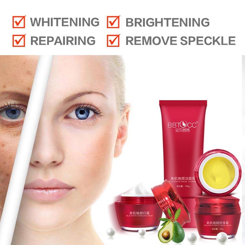 Blanchiment de la peau blanchiment crème blanc beauté taches foncées visage élimination des taches de rousseur maquillage essentiel marque ensemble ABC crème gratuit