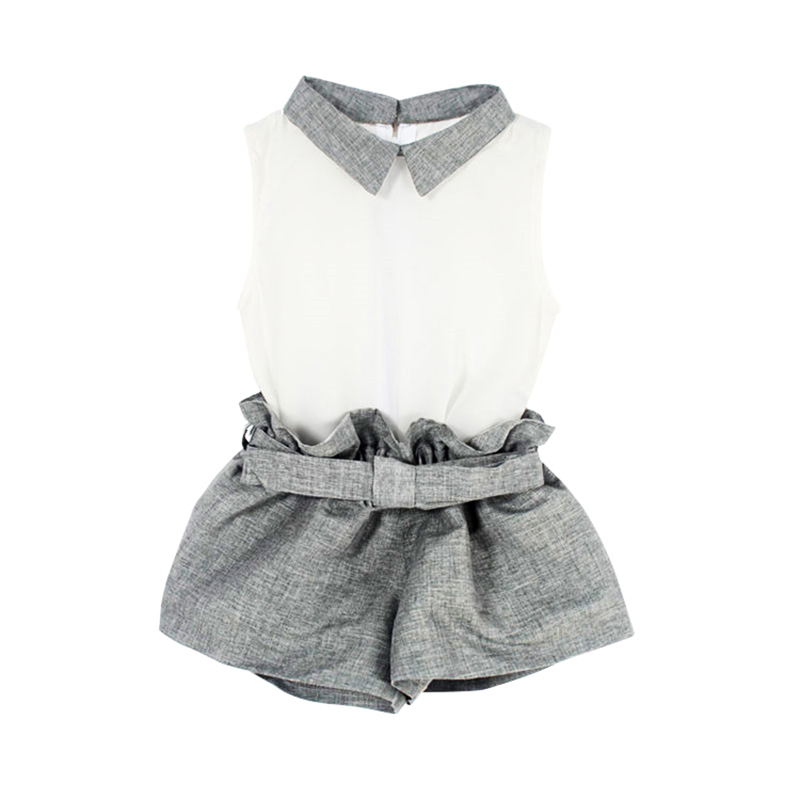 Baby Clothing Girl Baby Clothes Chiffon Summer Girls Clothing Sets T-Shirt + Gray Pants