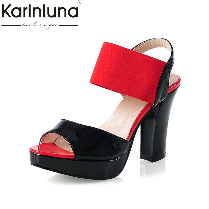 KARINLUNA Big Size 30-43 High Heel Sandals 2017 Women Stretch Fabrics Elastic Band Ankle Straps Open Toe Platform Shoes Woman rousmery 2017 ankle wrap rhinestone high heel sandals woman abnormal jeweled heels gladiator sandals women big size 43