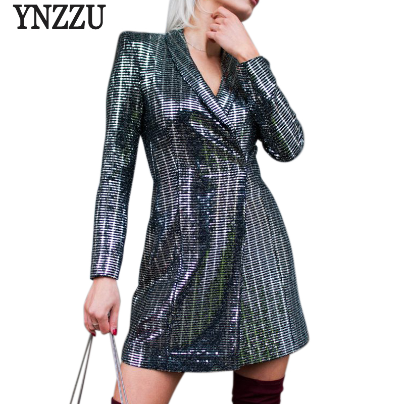 Elegant Sequins Women Blazer Jacket Fashion Mid Long BlingBling High Waist Female Slim Suit Blazers Feminino Outwears AO539