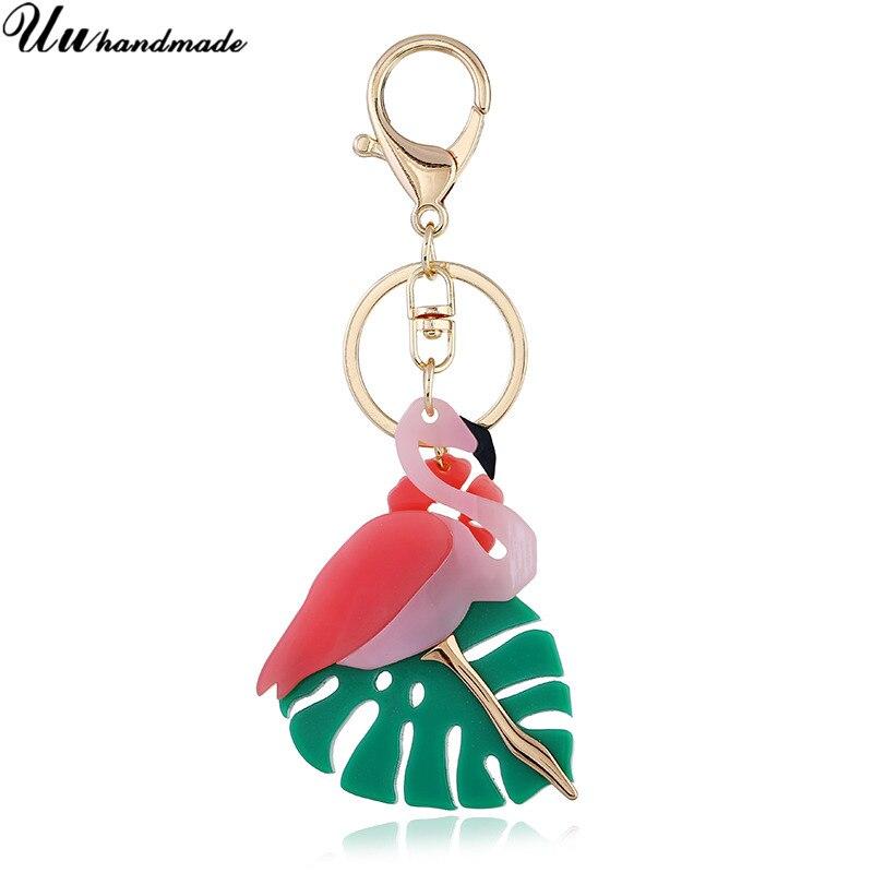 2018 Fashion Flamingo Keychain Acrylic Flower Keychains Animal Bird Women Car Bag Key Chain Fortnite Chaveiro Llaveros Llavero