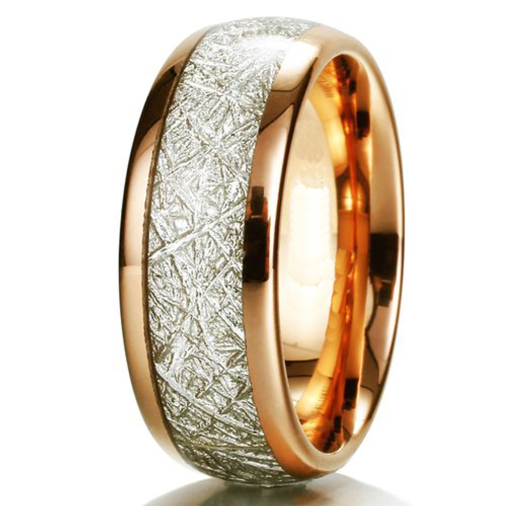 Mens & Womens Rose Gold Color Meteorite Rings Natural