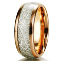 Mens & Womens Rose Gold Plated Meteorite Rings Natural Tungsten Carbide Wedding Band 8mm Wide Domed Finish Size 8-14