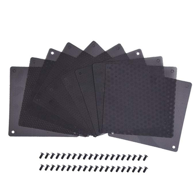<font><b>120</b></font> <font><b>mm</b></font> PVC Dust Filter Computer <font><b>Fan</b></font> Filter Cooler Black Dustproof Case Cover Computer Mesh 10 Packs with 40 Pieces of Screws image