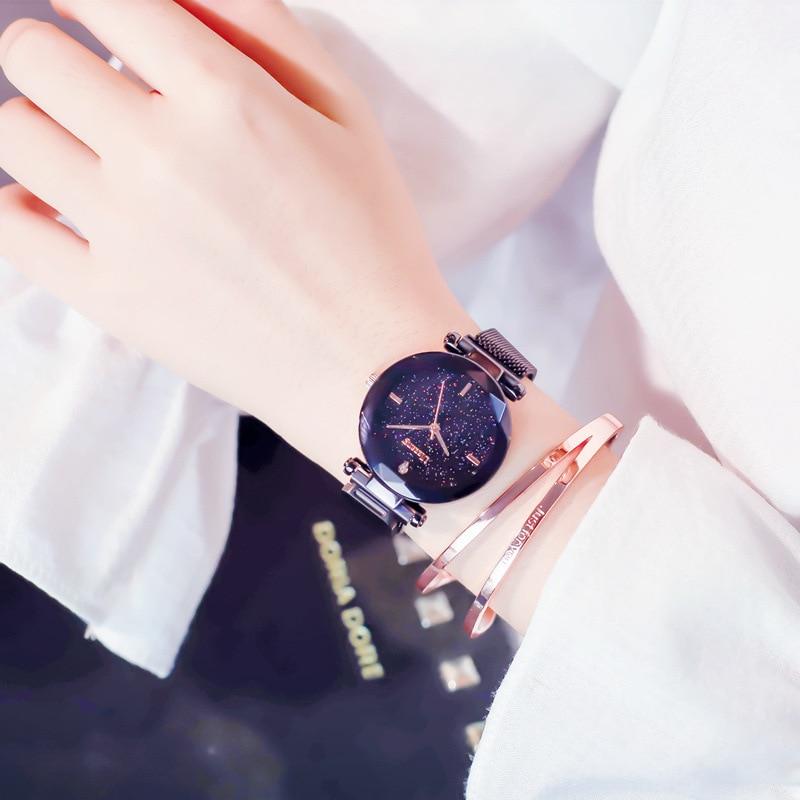 Einfache Stilvolle Frauen Uhr Schwarz Casual Minimalismus Serie Magnet Schnalle Business Kleid Uhr für Weibliche Party Star Mädchen Geschenk