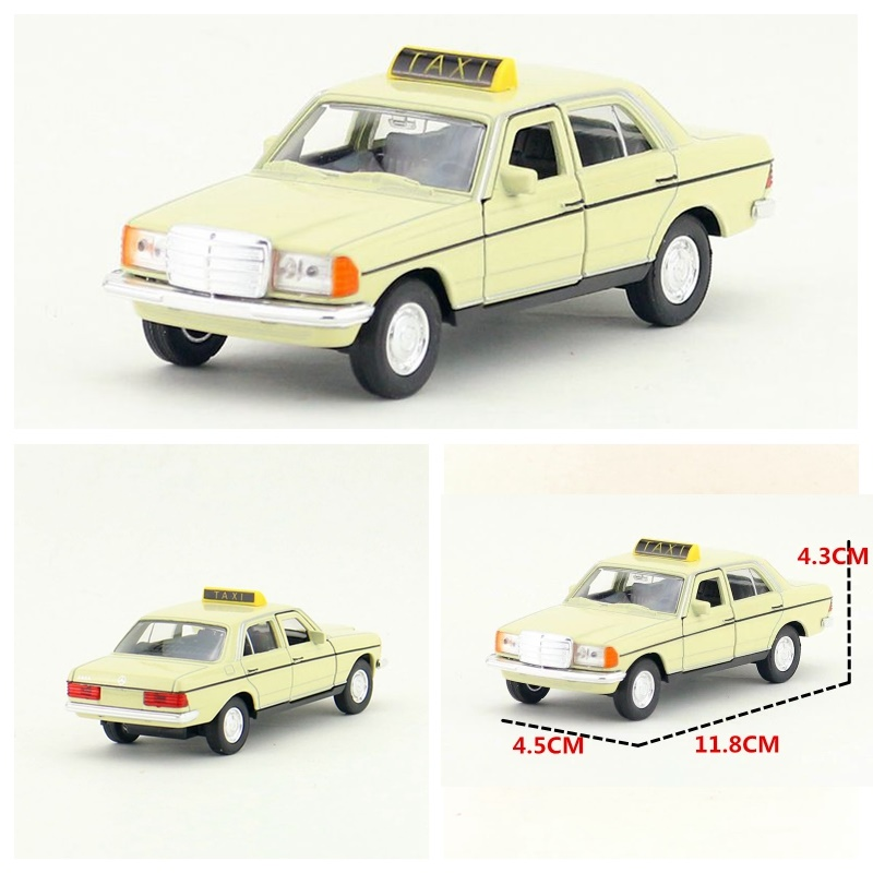 Candice guo children toy alloy car model Benz W123 Taxi pull back open door Classical plastic motor vehicle birthday gift 1pc