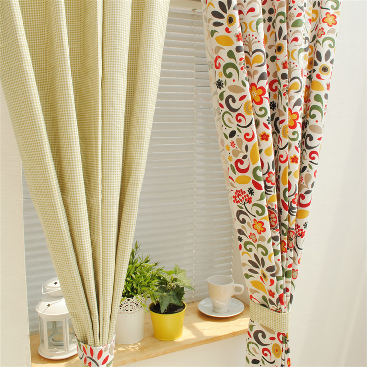 1Pcs Pastoral Style Series Cotton Curtain Green Grid Summer Flower For Living Room Bedroom