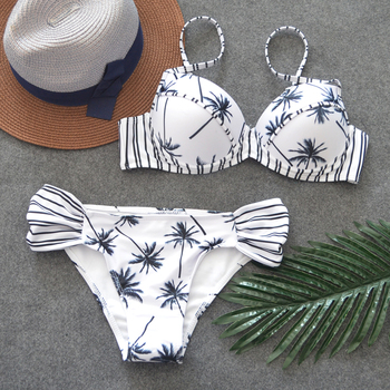 Palm Print Sexy Bikinis Women Swimsuit Low Waisted Bathing Suits 2019 Summer Striped Underwire Beach Biquini Female Swimwear