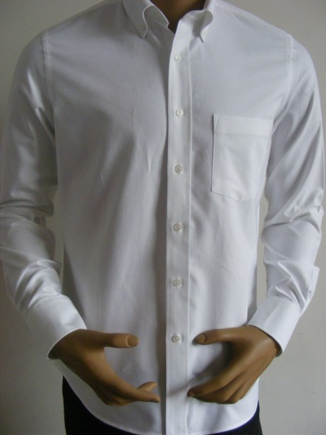 Free shipping Custom European size 100%Cotton Long sleeve button down collar white oxford Formal Shirts for man QR-1507