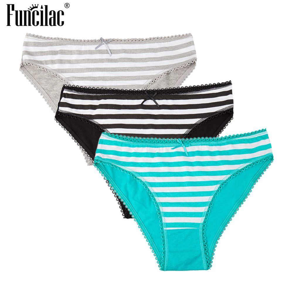 Failyac Briefs mujer Bragas ropa interior algodón rayas Sexy Thongs Panty  para las señoras más tamaño e4249dd478db