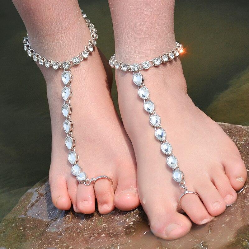 Strandkristall-armband för kvinnor Rhinestone Barefoot Sandaler Toe - Märkessmycken - Foto 2