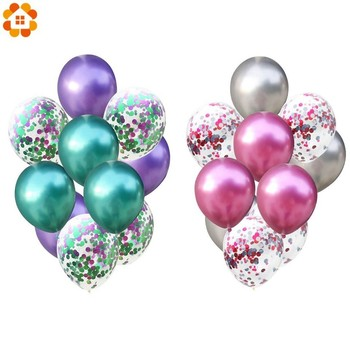 10 sztuk 12 cali kolorowe lateksowe balony konfetti balony dekoracyjne piłka dmuchana balon z helem na artykuły na urodziny wesela tanie i dobre opinie DIY House Owalne Ślub i Zaręczyny Chrzest chrzciny Wielkie Wydarzenie Birthday party Dzień dziecka THANKSGIVING CHRISTMAS
