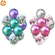 10PCS 12inch Colorful Latex Balloons Confetti Air Inflatable Ball Helium Balloon For Birthday Wedding Party Supplies