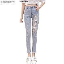 2018 твердые стирки узкие джинсы женщина с высокой талией винтаж бисероплетение 3D вышивка тонкий