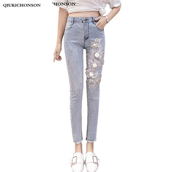 2018 solid wash skinny jeans woman high waisted vintage beading 3D embroidery slim stretch pencil denim pants ladies trousers