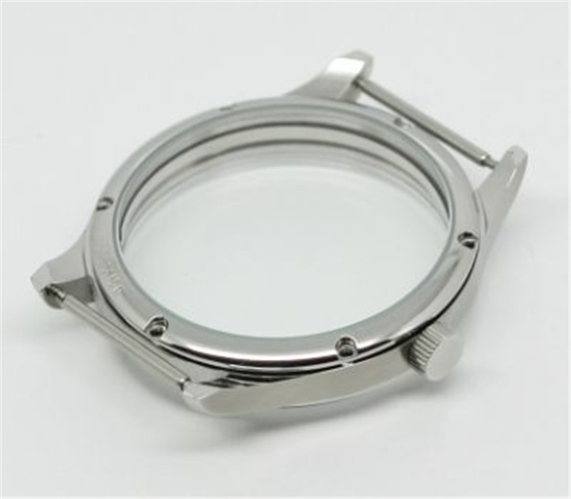 ФОТО 44mm Brushed Stainless Steel Watch Case Silver Fit SeaGull 6497-6498 Polit's Watches Mechanical Wristwatches