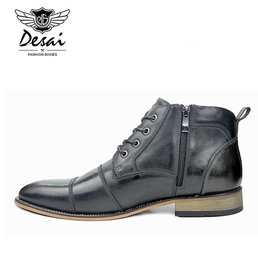 Size Inverno Eua Mornas Genuíno Sapatos Masculino brown Couro Cano Altos 7 Do Gray Oxfords Desai Black De Homens Plus Botas Casuais 13 Alto SaTwqxw