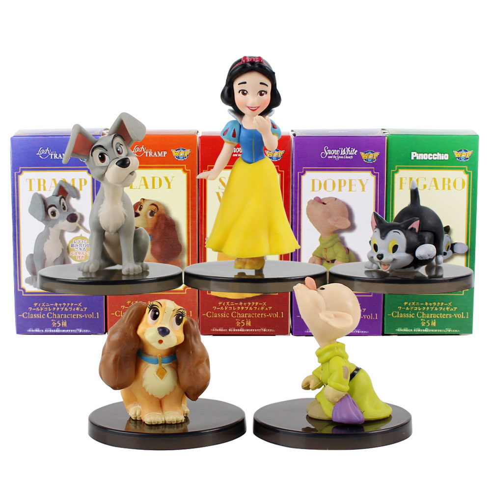 5pcs/set WCF Classic Characters Snow White Tinkerbell Dopey Tramp Figaro Peter Pan Oswald Bambi PVC Figures Toys