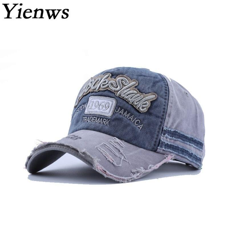 Yienws Bones Masculino Jeans Chapeau Man Woman Vintage Baseball Cap Summer Leisure Trucker Hats Curved Flap Dad Caps YIC608 yienws vintage jeans curve brim trucker