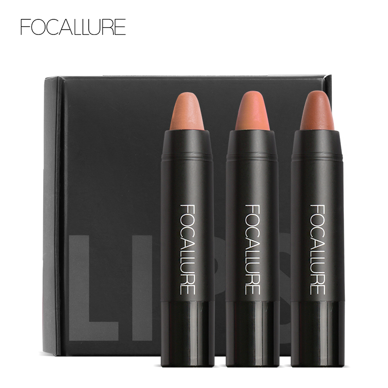 FOCALLURE New Arrival Waterproof Elegant Daily Color Lipstick Matte Smooth Lip Stick Long Lasting Sweet Girl Lip Makeup 12pcs fashion waterproof long lasting smooth lip liner pencil