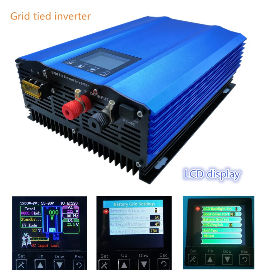 New 1000W grid tie inverter for PV DC Input:26V 45V or 24V battery discharge battery energy recovery lcd display pure sine wave