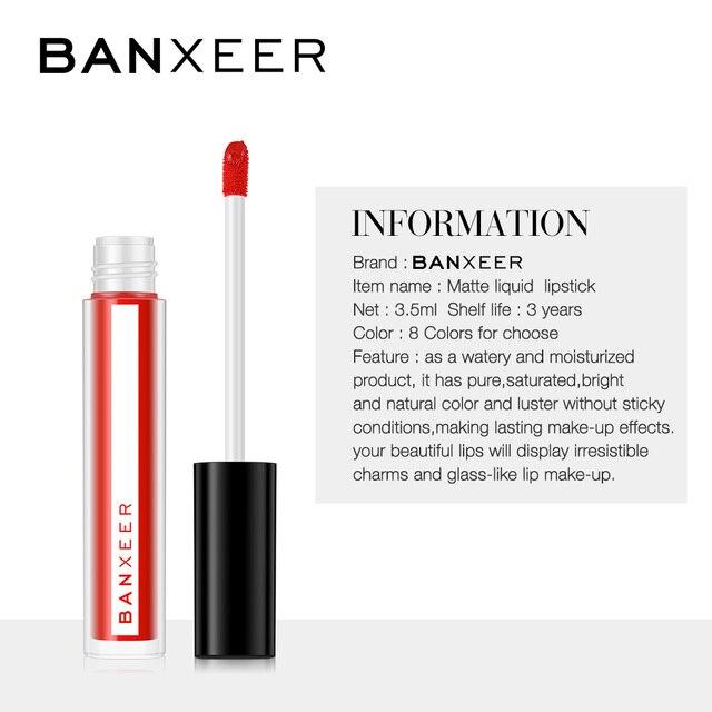 BANXEER Lipgloss 3pcs/Set Matte Lip Gloss Waterproof Long Lasting Velcety Matte Liquid Lipstick Makeup Lips Cosmetic 2