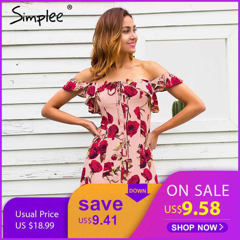 a29a51d1e662c Detail Feedback Questions about Simplee Ruffle off shoulder summer dress  women Lace up floral print mini dress streetwear Spring short dress female  vestidos ...