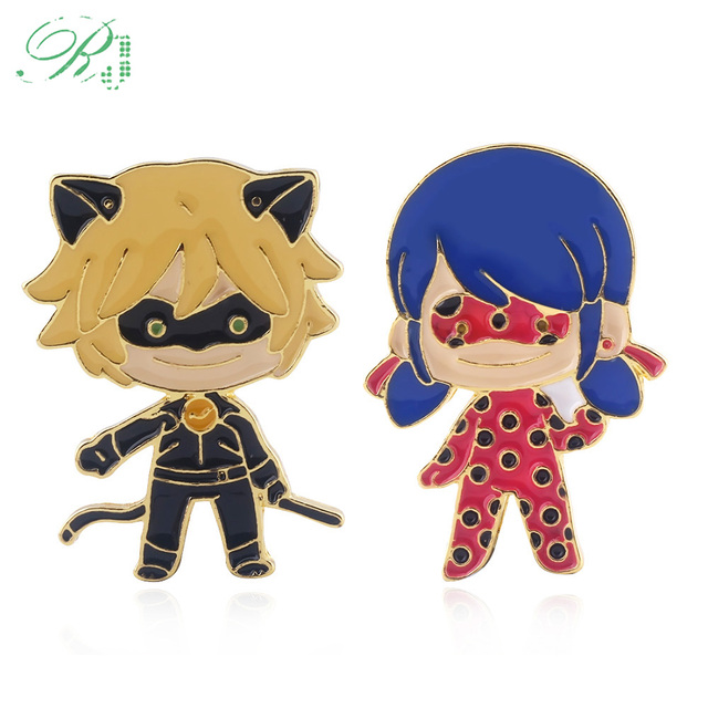 Us 0 88 20 Off Rj Hot Anime Miraculous Ladybug Cat Noir Figure Brooches Pins Queen Bee Butterfly Enamel Badge For Friend Cosplay Jewelry Gift In