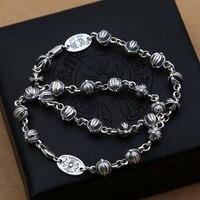Großhandel Personalisierte Ornamente In S925 Thai Silber Kreuz Kugel Stitching Männer Frauen Armband