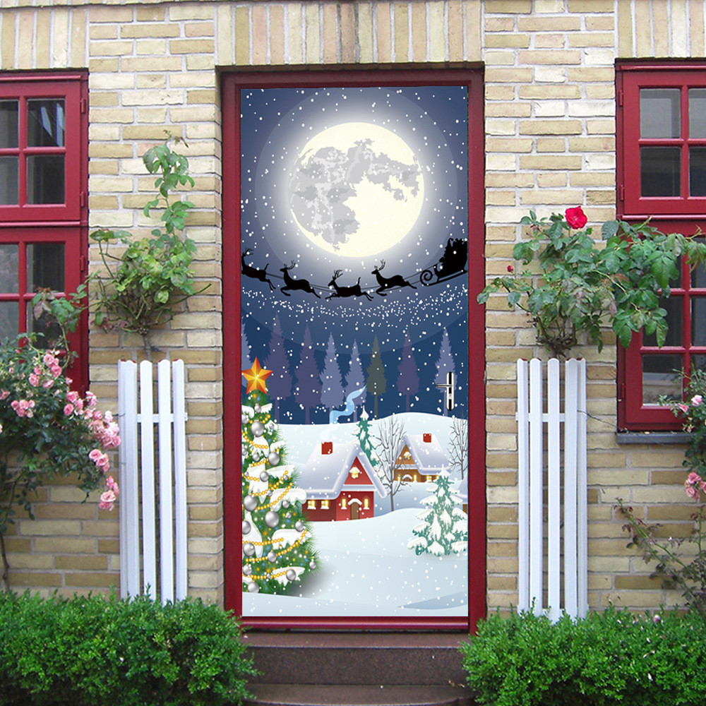 2018 Christmas Xmas Party Decoration Eve Door Cover Holiday Ornaments Covers Decoration 30 Inch By 6 5 Feet For Home Noel 2018 In Door Stickers From Home Garden On Aliexpress