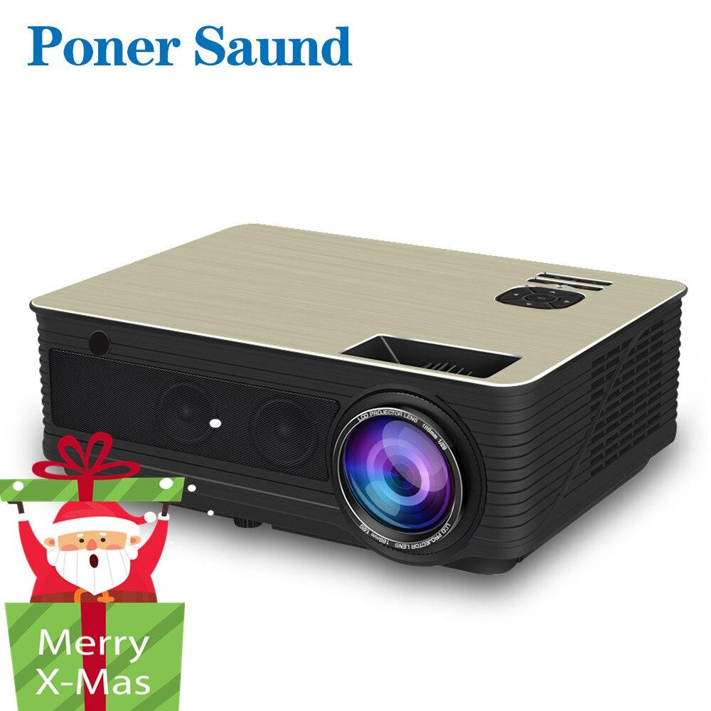 Poner Saund M5 Full HD светодио дный проектор 4500 люмен дополнительный Android 6,0 WiFi Поддержка bluetooth 1080 P видеопроектор HDMI видео Proyector